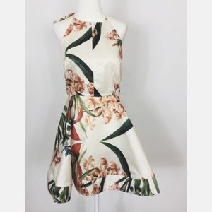 Lulu's hydrangea cream floral print skater dress